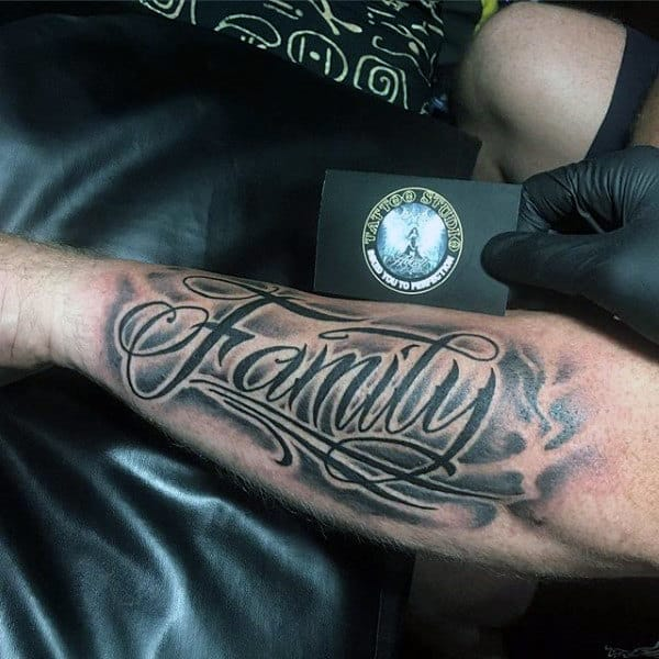 Stylised Black Font Family Tattoo Male Forearms