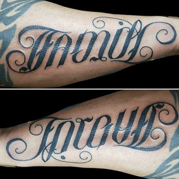 Stylised Font Black Family Tattoo Make Forearms