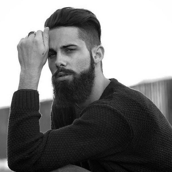 Stylish Combed Back Undercut For Guys With Beards