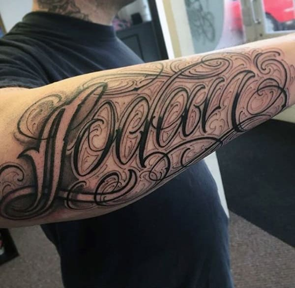 Stylish Fonted Lettering Tattoo Mens Forearms