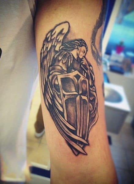 Stylish Guardian Angel Tattoo Males Forearms