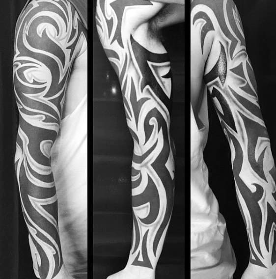 Stylish Guys Tribal Tattoo Full Sleeve