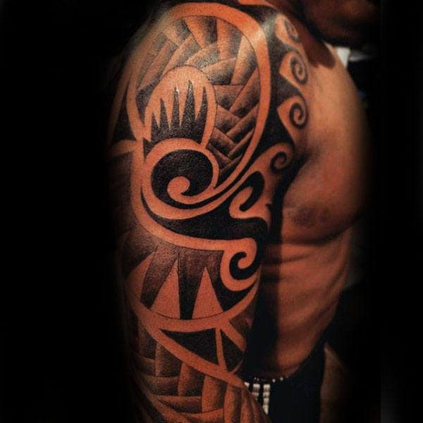 Stylish Male Tribal Tattoo Upper Arm