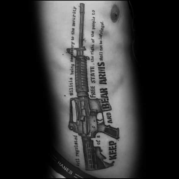 Stylish Mens Ar 15 Tattoos 2nd Amendment Quote Rib Cage Side Design
