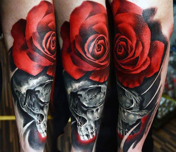 Stylish Mens Badass Flower Rose Tattoos