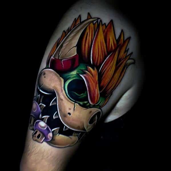 Stylish Mens Bowser Tattoos