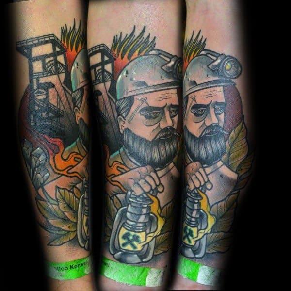 Stylish Mens Coal Mining Tattoos