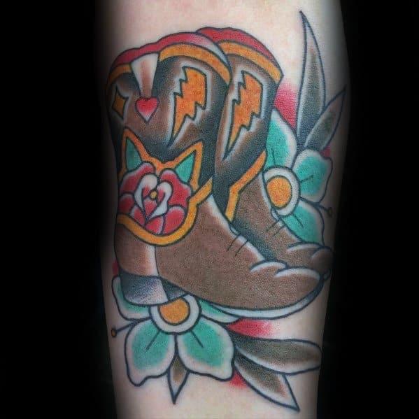 Stylish Mens Cowboy Boot Tattoos