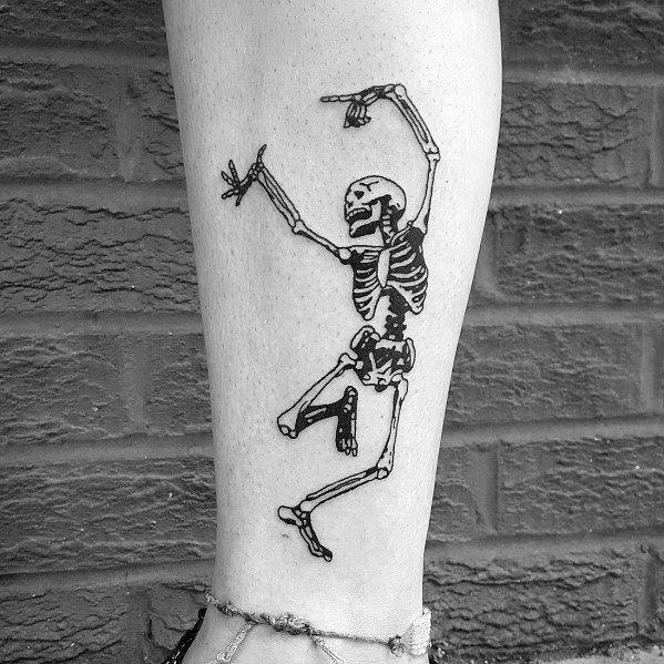Stylish Mens Dancing Skeleton Tattoos