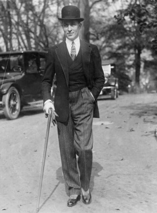 Stylish Mens Fashion In 1920s Top Hat With Walking Cane
