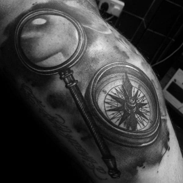 Stylish Mens Magnifying Glass Tattoos