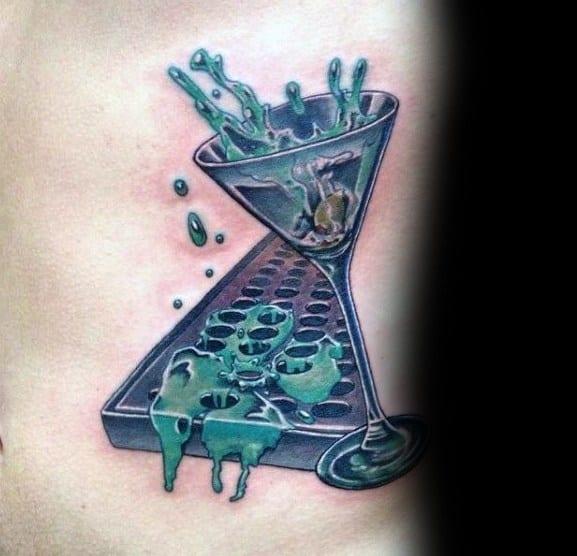 Stylish Mens Martini Glass Tattoos