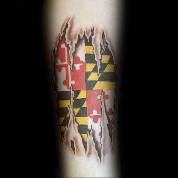 Stylish Mens Maryland Flag Tattoos