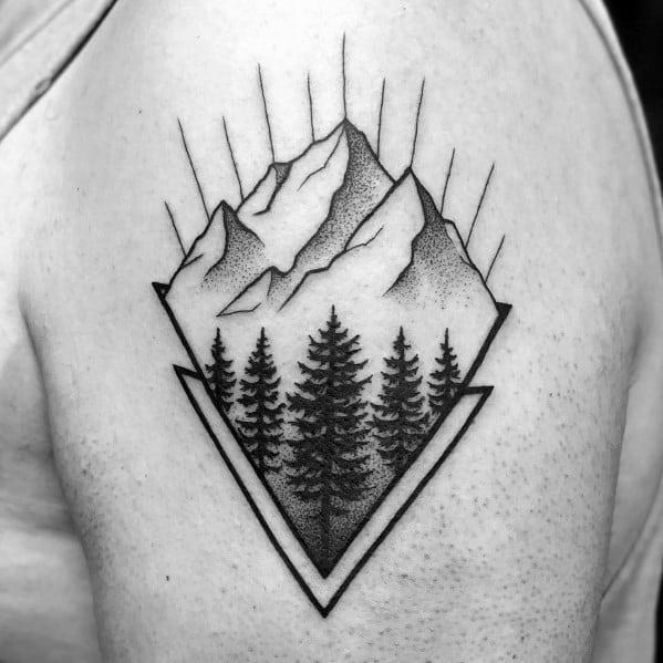 Stylish Mens Minimalist Mountain Tattoos