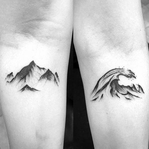 Stylish Mens Mountain Wave Tattoos