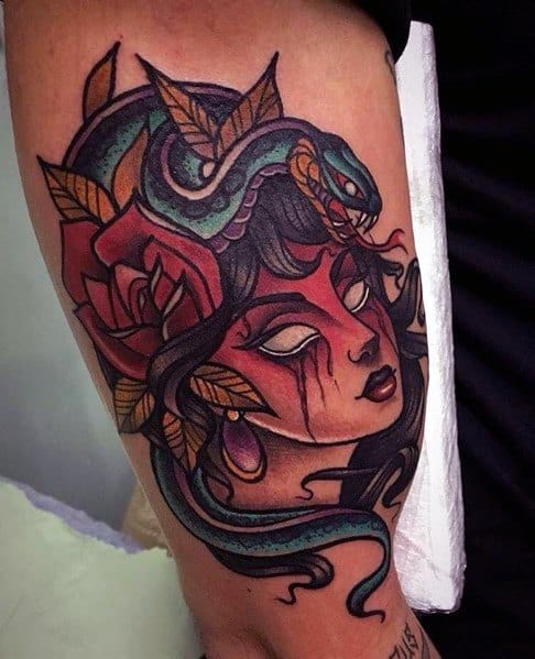Stylish Mens Neo Traditional Snake Tattoos