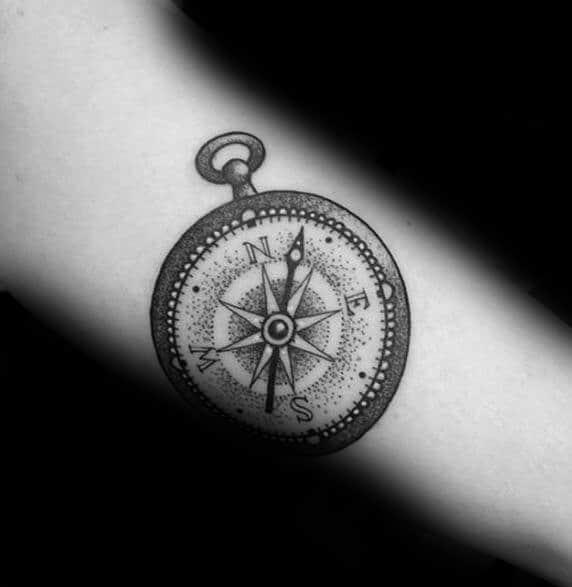 Stylish Mens Simple Compass Tattoos