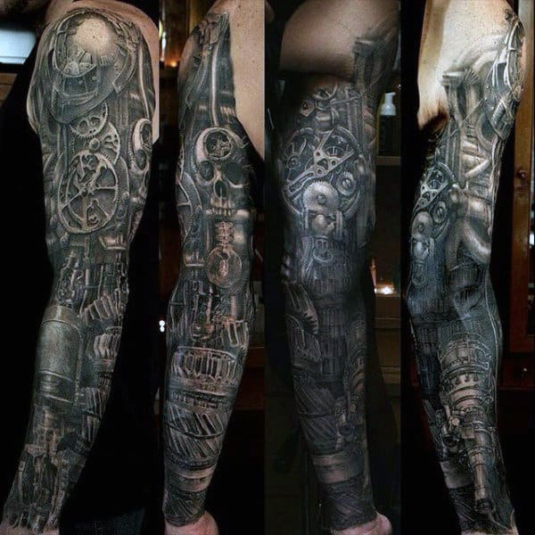 Stylish Mens Skull Sleeve Tattoos