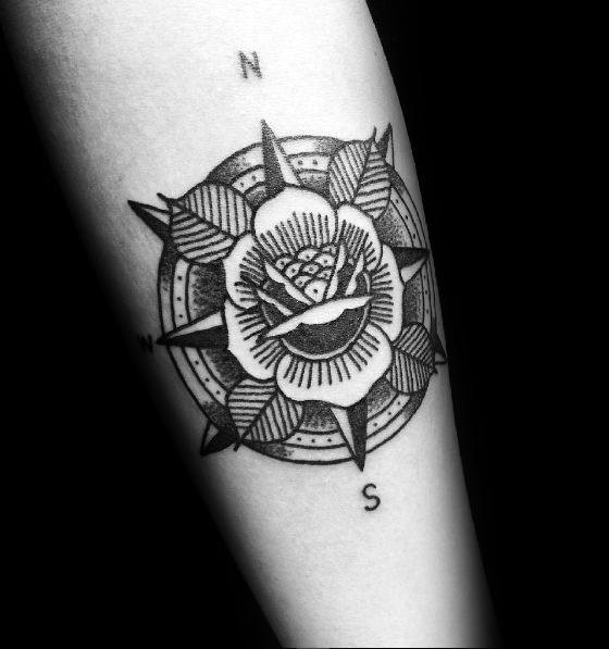 Stylish Mens Small Compass Tattoos