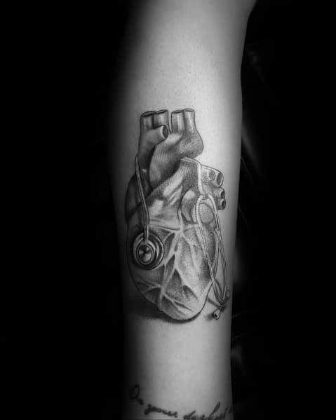 Stylish Mens Stethoscope Tattoos On Forearm