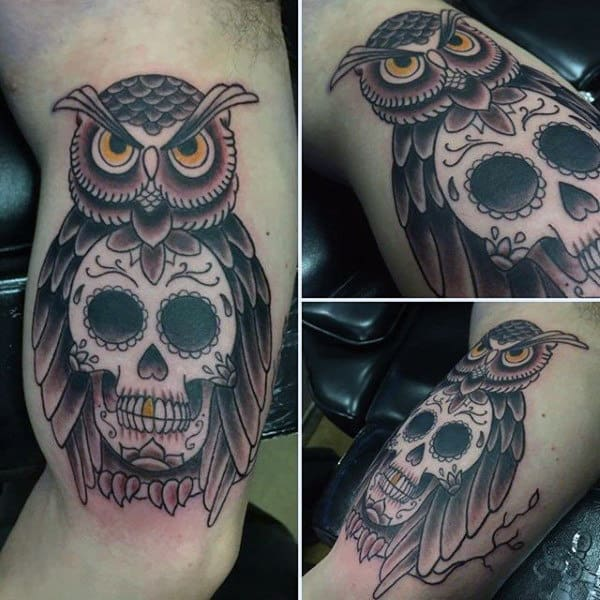 Stylish Mens Sugar Skull Tattoos Designs