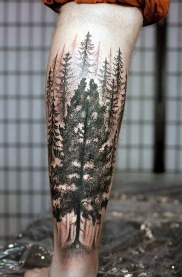 Stylish Mens Tree Leg Tattoos