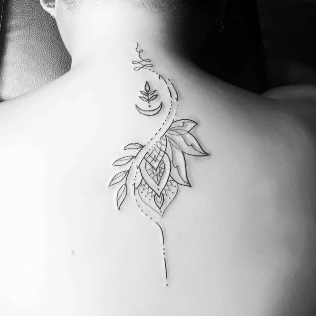 Stylish Moon Unalome Tattoo