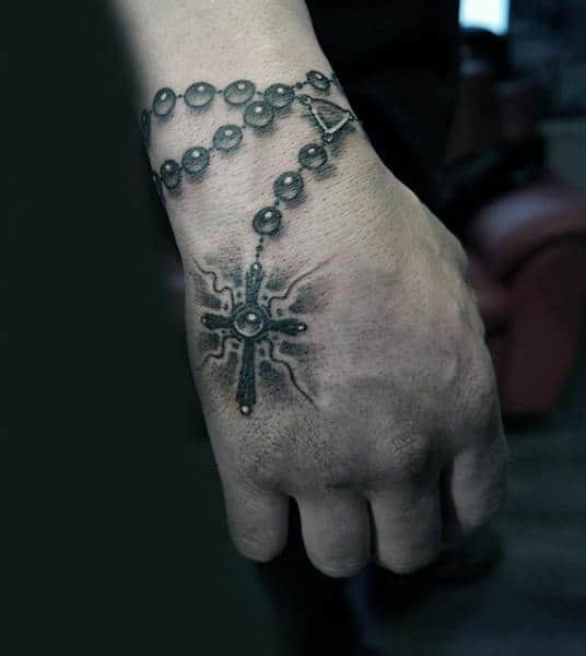 Stylish Rosary Tattoo For Men On Hands