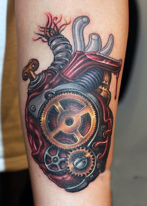 Stylish Steampunk Heart Tattoo Male Forearms
