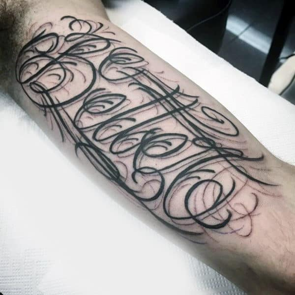Stylish Wording Tattoo Male Inner Biceps