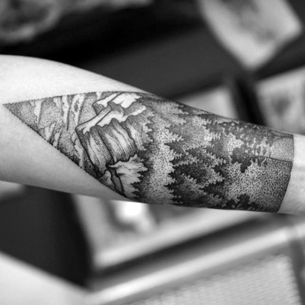 Stylist Black Ink Forest And Mountain Tattoo Half Sleeve On Man