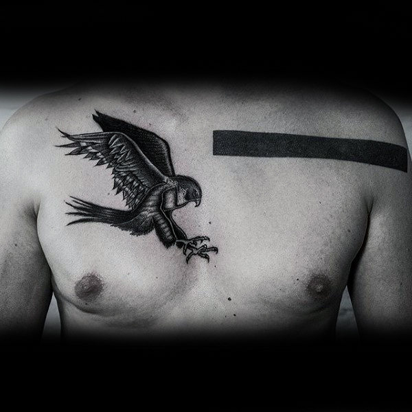 Stylized Blackwork Hawk Tattoo For Guys Chest