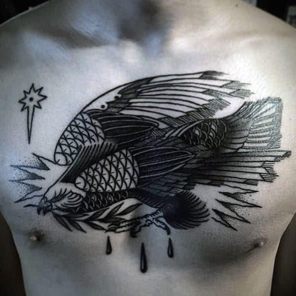 Stylized Hawk With Fish Body Tattoo On Male Chest