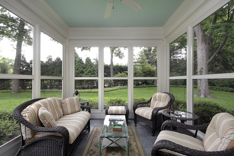 Suburban Home Screened In Sun Porch