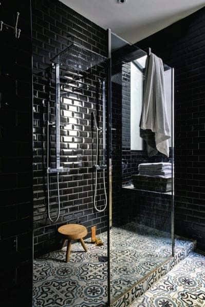 Top 60 Best Black Bathroom Ideas Dark Interior Designs
