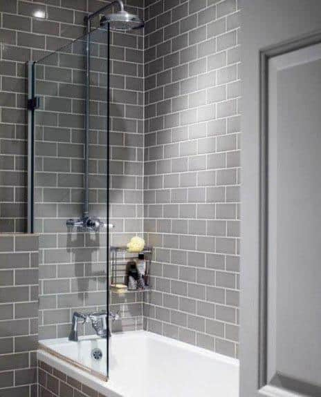 Subway Tile Grey Bathroom Interior Design