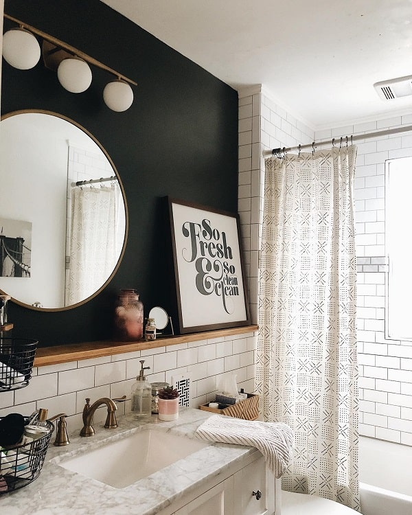 Subway Tile Rustic Farmhouse Bathroom Saragreencollective