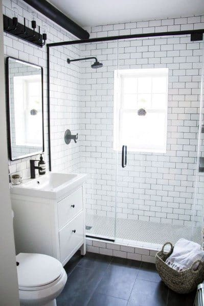 Top 60 best white bathroom ideas home interior designs for Black and white retro bathroom ideas