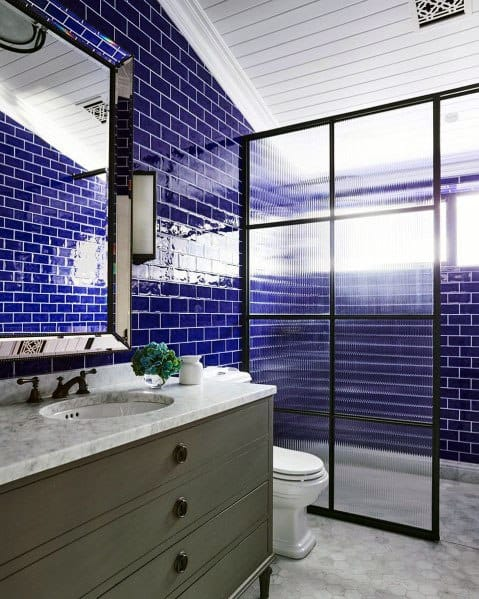 Subway Tiles Shower Ideas For Blue Bathroom