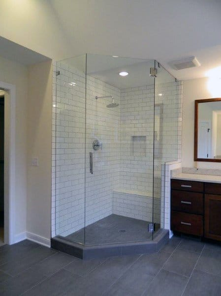 Subway Wall Tile Bathroom Corner Shower Ideas
