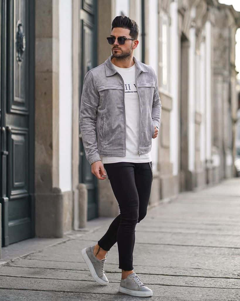 Suede Jacket White Shirt Street Wear Style