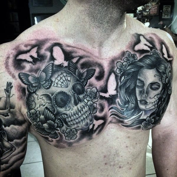 Sugar Skull Guys Chest Tattoos With Day Of The Dead Theme Negative Space Design Inspiration