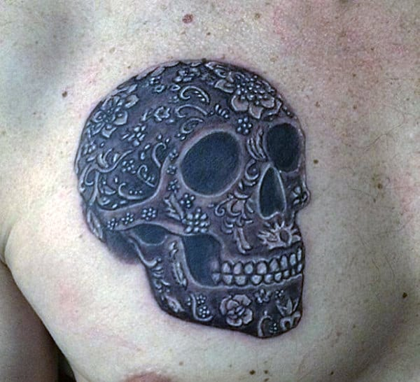Sugar Skull Male Chest Tattoo