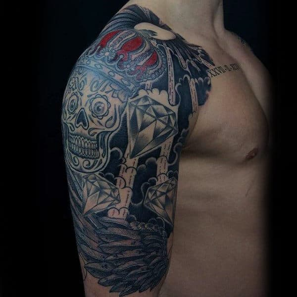 100 Sugar Skull Tattoo Designs For Men - Cool Calavera Ink ...