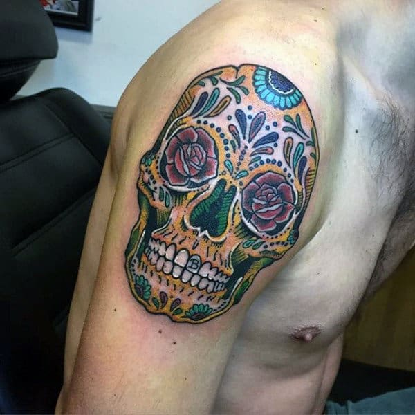 Sugar Skull Mens Arm Tattoo