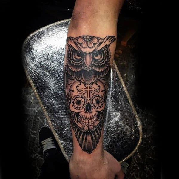100 sugar skull tattoo designs for men cool calavera ink for Owl with sugar skull tattoo