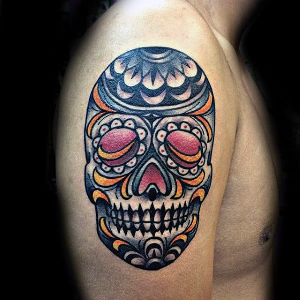 Sugar Skull Tattoo Arm Of Man