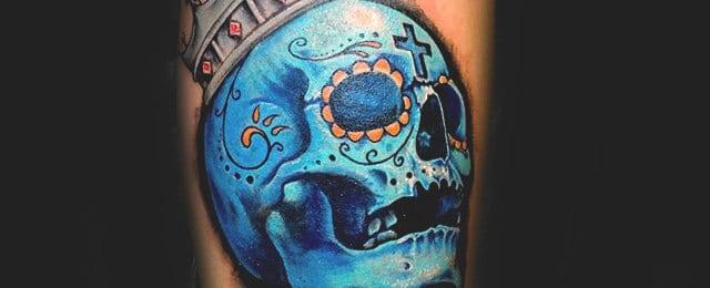 100 Sugar Skull Tattoo Designs For Men – Cool Calavera Ink Ideas