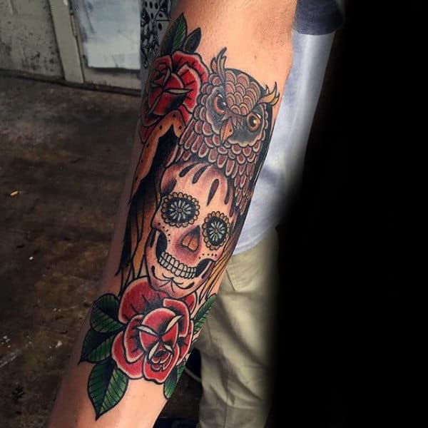 Sugar Skull Tattoo Forearm Sleeve For Men