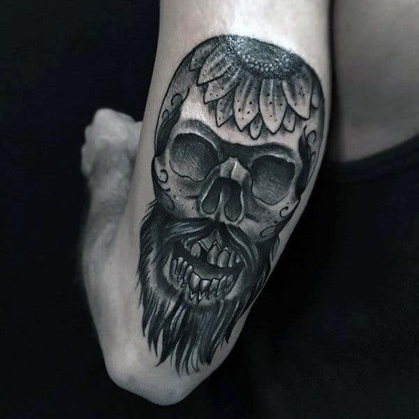 Sugar Skull Tattoo Men On Back Of Arm